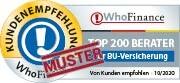 Siegel für die Die besten Berater für Berufsunfähigkeitsversicherung in Deutschland aus Kundensicht